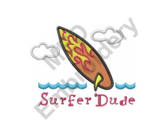 Surfer Dude - Machine Embroidery Design, Surfer, Surf Board, Waves