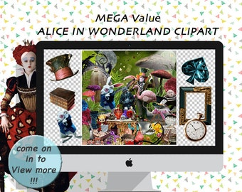 Alice in wonderland clipart/ scrapbook/party clipart/digital clipart/tea party/wonderland clipart/digital images/collage sheet