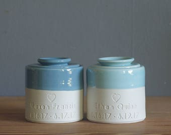 baby urn. lidded customized infant urn for cremains, infant urn. custom color, text and stamp. shown in ice blue and french blue