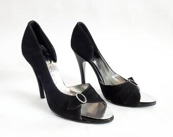 1980's vintage shoes vintage leather shoes Dolcis Fashion Girl shoes stiletto heels diamante shoes peep toe shoes 80's black shoes size 4.5