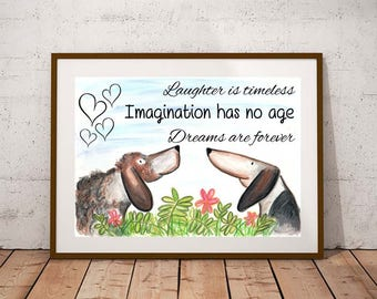 Giclee print, Inspirational quote PRINT, dog print, dog art, watercolour painting, dog lover gift, watercolour animal print