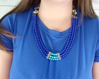 Statement Necklace, Beaded Necklace, Blue Necklace, Multi strand Necklace, Bib Necklace, Chunky Necklace, Blue Beaded Necklace, Handmade