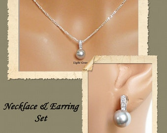 Cubic Zirconia Bridal Jewelry Set, Simple Classic Pearl Pendant, Bridesmaids Gifts, Bridesmaids Jewelry Set