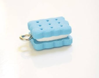 Turquoise and white polymer clay biscuit charm