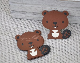 "Woodland Creature Animals - (5) 2"" Beaver Die Cuts - Beaver Party Decor - Forest Animals - Woodland Birthday Party- First Birthday"