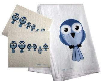 Swedish Dishcloth/Floursack Towel Set 2 each Bluebirds on Wire Swedish Dishcloths with 28x29 100% Cotton Floursack Kitchen Towel