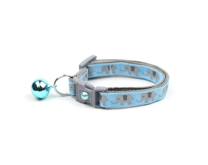 Elephant Cat Collar - Elephants on Baby Blue - Small Cat / Kitten Size or Large Size