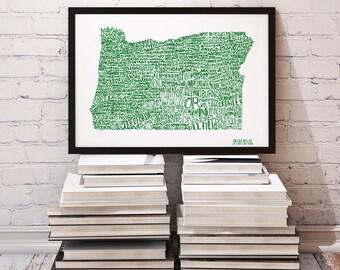 COLOR Oregon Cities Typography Print; Wall Art and Decor; Christmas Gift; Wedding Anniversary Graduation Gift