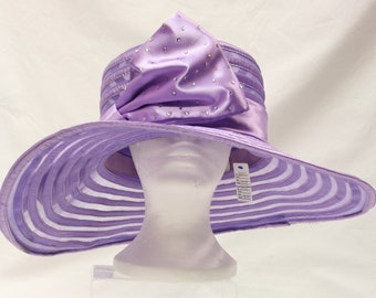 G.M.I. Sunday Church Hat,Vintage, Kentucky Derby Hat, Purple Summer Hat, w Lg Bow RS014