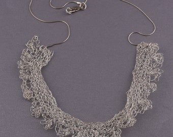 knitted necklace pure silver.