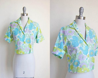 1950s vintage floral flower print pastel crop short cuff sleeve button down top shirt blouse m