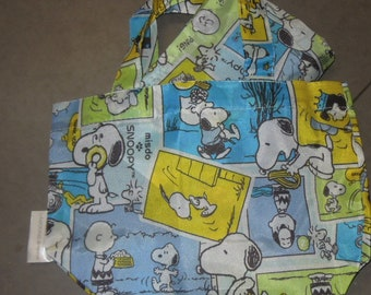 Snoopy & his Friends Foldable Shopping Nylon 2 Bags  ~ Blue
