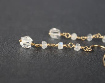 Herkimer Diamond Earrings with moonstone,  April Birthstone, Dangling Earrings, Minimalistic Earrings, Rough Earrings, Crystal Earrings