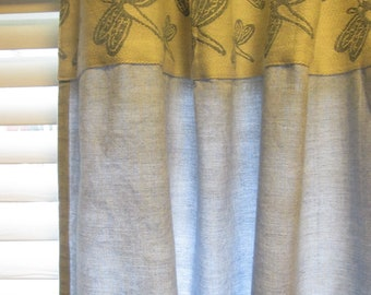 Vintage Long Tab Curtains - Two Sturdy Blue Cotton Chambray Panels - Blue and White Dragonflies