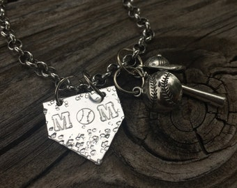 Textured Mom Baseball Charm Necklace by Precision  Princess