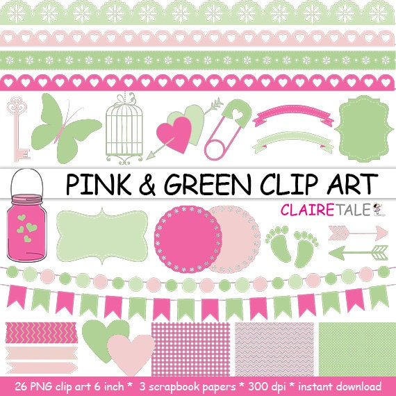 "Digital ""PINK & GREEN CLIPART"" frames, ribbons, borders, flags, arrows, butterfly, lights, hearts, mason jar, key, bird cage, baby shower"