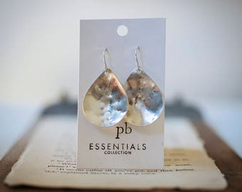 STERLING SILVER TEARDROP Earrings, Emily Earrings, Classic Earrings, Statement earrings, pommier-benoit, essentials collection, Rustic