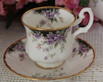 Royal Albert unnamed Teacup and Saucer Demitasse Teacup and Saucer Purple flowers on black and white porcelain