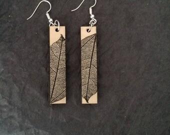 Leaf Imprint Laser Cut Wood Earrings Dangle Rectangle Birch Cherry Oak