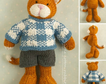 Toy knitting pattern for a boy cat with a plaid sweater and shorts
