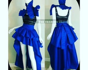 Two in one Steampunk  Prom dress Bustle skirt and collar bolero shrug Made to order