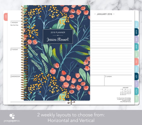 Personalized planner 2018 2019 calendar add monthly tabs for Create custom planner
