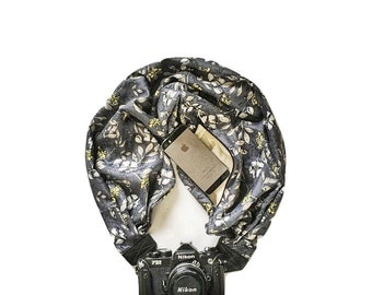 Gray and Yellow Floral Camera Strap with Lens Pocket -  The Original Camera Scarf Strap With Hidden Pocket