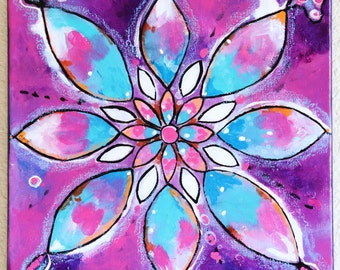 Pink Purple Turquoise Mandala Art Original Mixed Media Art Original Acrylic Painting Intuitive Art 12 x 12 Canvas by Charlotte Littlejohn