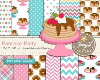 50% OFF Pancake digital papers and clipart SET for Party Digital Scrapbooking, birthday invitations, Planner