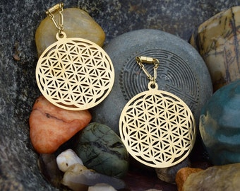 """Flower of Life Sacred Geometry Magnetic Clasp Gauged Earrings -  Sizes 2g - 1"""""""