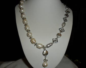 Culture, white, grey, white keshi pearls, silver beads for necklace 50 cm
