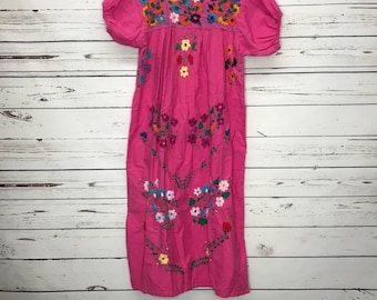 Ladies Pink Floral Mexican Embroidered Handmade Ethnic Dress Sz: XS