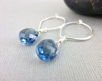 Colonial Blue Quartz Chakra Earrings, Wire Wrapped Briolettes & Sterling Silver Hoops, Throat and Third Eye Chakras