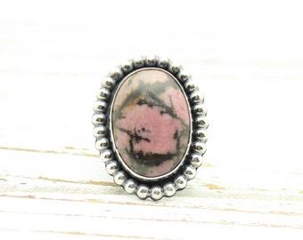 Pink Rhodonite Ring, Gemstone Ring, Sterling Silver Ring, Statement Ring, Big Gemstone Ring, Pink Stone Ring, Boho Ring, JMK, size 7.5
