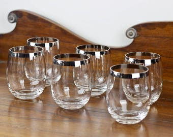 Mid Century Tall Roly Poly Glasses Silver Band Dorothy Thorpe Style Set of 6