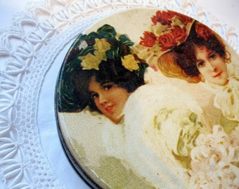 Vintage Tin of Victorian Girls, Crochet Doily, Set of Two, Storage, Cottage Charm, Shabby French, by mailordervintage on etsy
