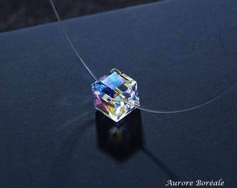 Nylon yarn - Solitaire rhinestone Cube Swarovski Crystal Necklace