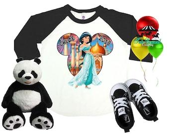 Jasmine Disney Shirt, Aladdin Shirt, Personalized Raglan Shirt, Toddler Youth Adult  (mc569)