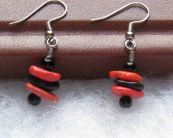 Funky Orange and Black Earrings, Halloween Earrings, Black and Orange Earrings, Halloween Jewelry, Black Orange Halloween Funky Earrings