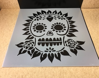 SUGAR SKULL and Roses  TCW  6 x 6 Stencil