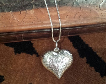 Sterling silver hammered heart pendant with sterling silver chain