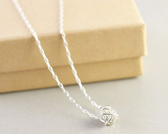 Sterling Knot Necklace, Knot Jewelry, Bridesmaid Necklace, Everyday Necklace, Love Necklace, Tie The Knot
