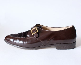 Vintage Classiques Entier Brown Leather & Ponyhair Loafers, size 9.5N
