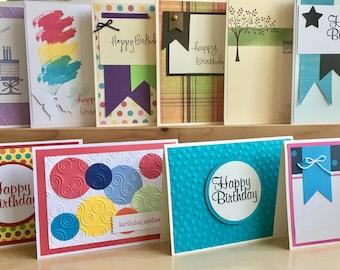 10 Birthday Cards. Handmade Birthday Card Set. Birthday Card Assortment. Happy Birthday Greeting Cards. Blank Birthday Cards. Unisex Cards