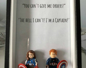 LEGO Minifigures Ship Picture Frame (Olicity - Oliver Queen and Felicity Smoak)(Steggy- Steve Rogers and Agent Peggy Carter) Peggy Captain