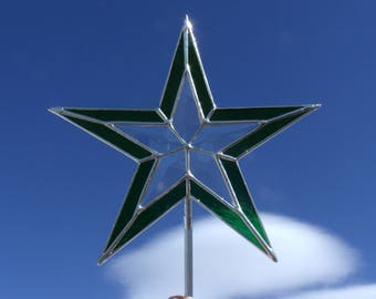 Beveled and Stained Glass Christmas Tree Topper, Hand Made Clear and Green Star