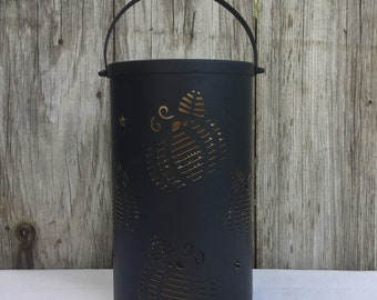 Brown Metal Luminary with Pumpkin Cut Outs