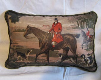 Handmade ENGLISH FOXHUNT Medium Horse Pillow w/Twist Cord Piping Quality Upholstery Fabric Brown Tones