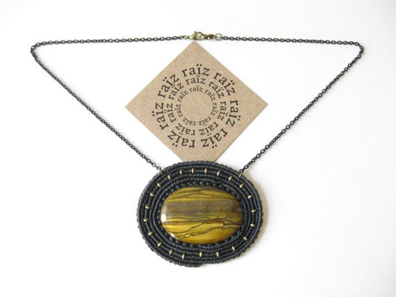 Tiger Eye Necklace Pendant Macrame & Adjustable Chain . Textile Handwoven Fiber and Metal Jewelry . by raïz