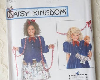 Simplicity 7787 Sewing Pattern Daisy Kingdom Dress & 18 Inch Doll Dress Size BB Girls 5-8 Vintage 1987